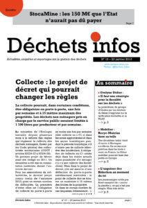 Déchets Infos n° 15 — 23 janvier 2013