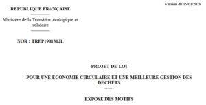 Projet de loi sur l'économie circulaire : un «pseudo-document de travail» très officiel